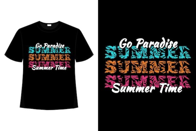 T-shirtontwerp van paradijs zomertijd palmblad in retro stijl