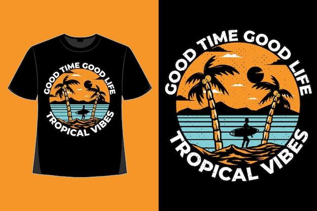 T-shirtontwerp van tropische vibes natuur retro vintage illustratie