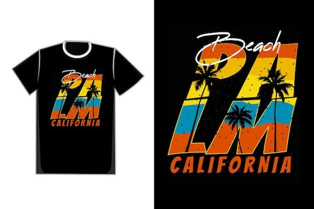 T-shirtontwerp van typografie strand palm californië zonsondergang retro