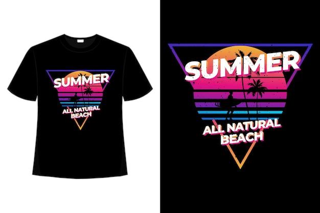 T-shirtontwerp van zomerse natuurlijke strandverloopkleurstijl