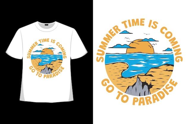 T-shirtontwerp van zomertijd komend paradijs met de hand getekend in retrostijl
