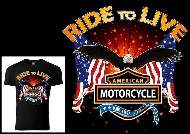 T-shirtontwerp voor motorrijders met adelaar en vlaggen met decoratieve spandoeken en teksten