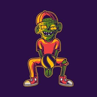 T-shirtontwerp zombie in een positie om de onderste bal van de volleybalillustratie van de tegenstander te ontvangen