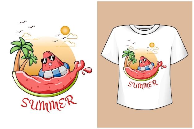 T-shirtontwerpmodel schattige watermeloen op het strand Premium Vector
