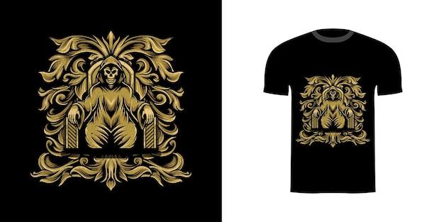 T-shirtontwerpschedel met gravureornament voor t-shirtontwerp