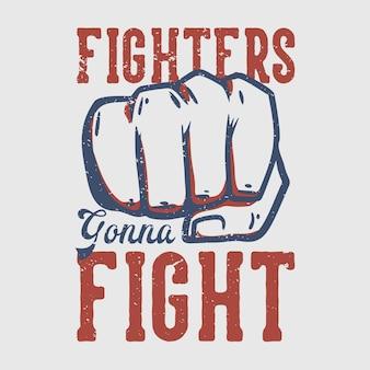T-shirtontwerpvechters gaan vechten tegen vintage illustratie van vechters