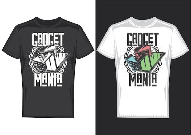 T-shirtontwerpvoorbeelden met illustratie van gadgets.