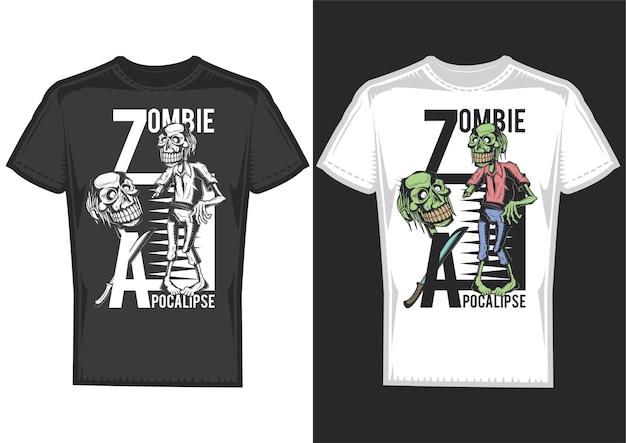 T-shirtontwerpvoorbeelden met illustratie van zombies.