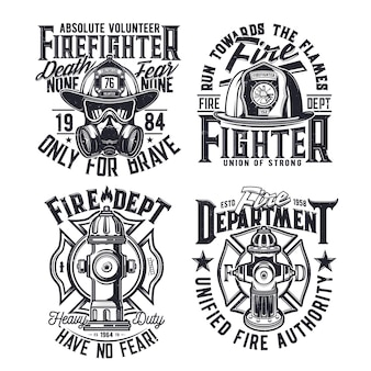 T-shirtprint met brandweer vectoruitrusting