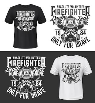 T-shirtprint met gasmasker voor brandweeruitrusting