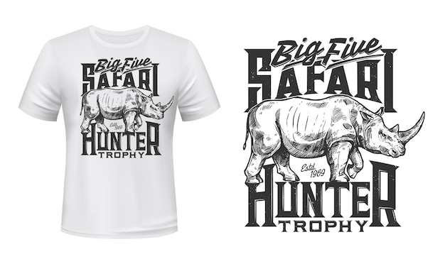T-shirtprint met neushoornmascotte voor jager met wild afrikaans dier