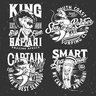 T-shirtprints met mascottes van kreeft, leeuw en potlood