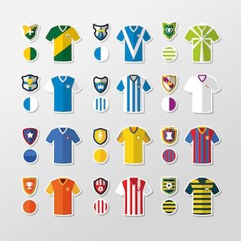 T-shirts en schilden van fictieve voetbalteams