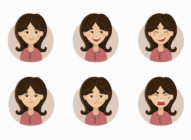 T van de emoties van de vrouw emoji-personage van een jonge vrouw met verschillende uitdrukkingen avatar van het meisje