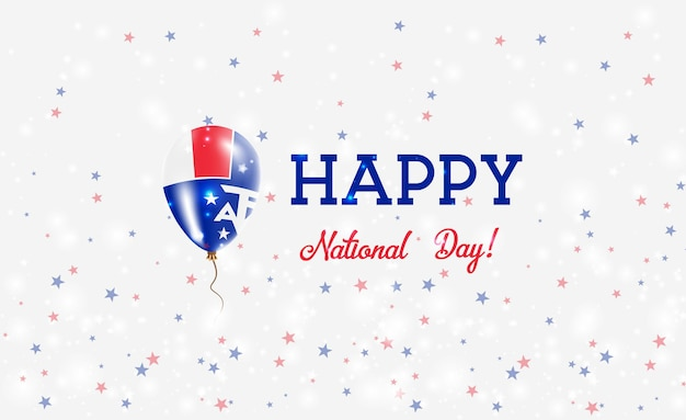 Taaf nationale feestdag patriottische poster. vliegende rubberen ballon in de kleuren van de franse vlag. taaf nationale feestdag achtergrond met ballon, confetti, sterren, bokeh en sparkles.