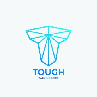 Taaie letter t abstract vector embleem teken of logo sjabloon lijn kunst sterkte symbool machtige vorm si...
