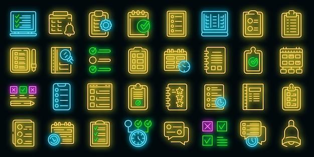 Taak schema icoon. overzicht taakschema vector pictogram neon kleur op zwart