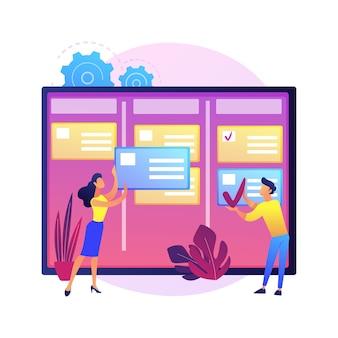 Taakbeheer abstract concept illustratie. projectmanager-tool, bedrijfssoftware, online productiviteitsplatform, applicatie voor taakbeheer, voortgangsregistratie.