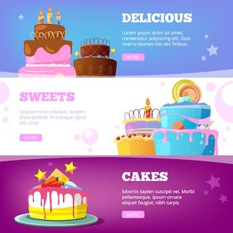 Taart banners. verjaardag bakproducten met siroop chocolade vanille bruidstaarten cartoon illustraties
