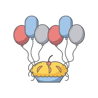 Taart en ballonnen pictogram