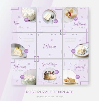 Taart eten menu banner collectie puzzel sjablonen post premium
