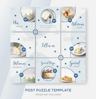 Taart menu banner sjabloon voor sociale media sociale post premium vector