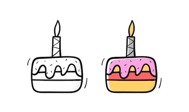 Taart met kaars in doodle stijl. vector illustratie.