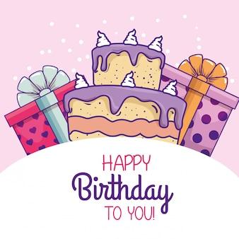 Taart met presenteert geschenken om gelukkige verjaardag te vieren