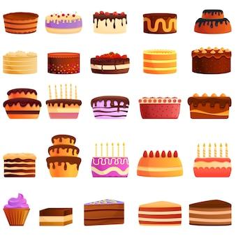 Taart pictogrammen instellen. cartoon set van cake vector iconen