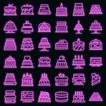 Taart pictogrammen instellen. overzichtsreeks van de neonkleur van cake vectorpictogrammen op zwart