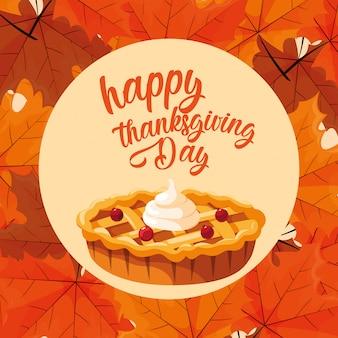 Taart van thanksgiving dag met bladeren