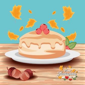 Taart van thanksgiving dag met slingers
