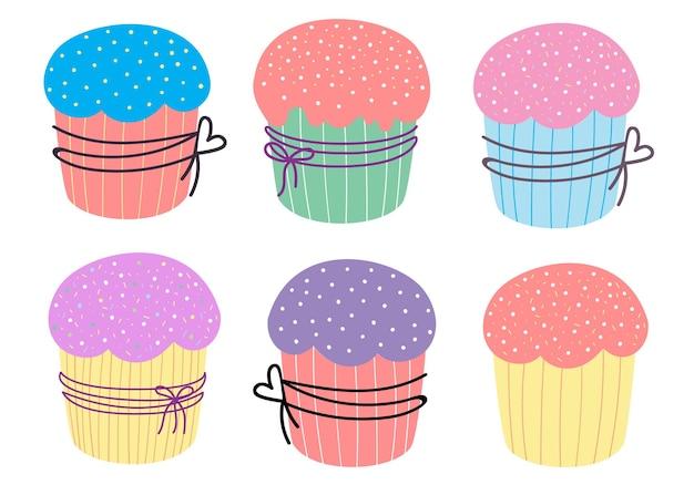 Taarten en cupcakes. vector illustratie