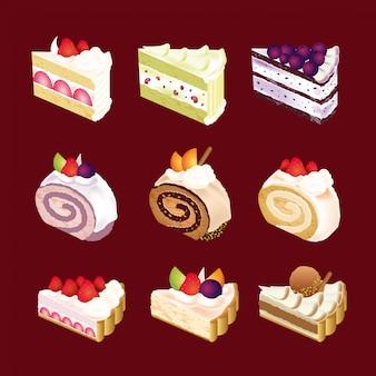 Taarten en desserts ingesteld