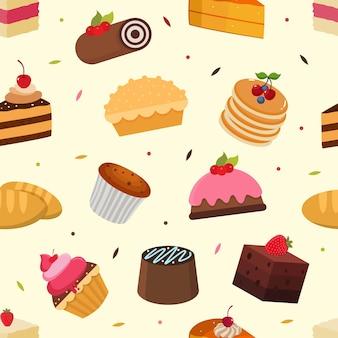 Taarten naadloos patroon met varian taarten vectorafbeelding