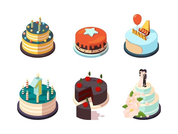 Taarten. smakelijke bakkerij-etensroomtaartjes met chocolade-aardbei geglazuurd voor verjaardagsfeestje isometrisch