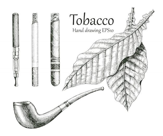 Tabak collectie hand tekenen vintage stijl