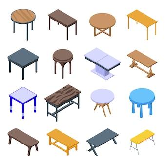 Tabel pictogrammen instellen. isometrische set tafelpictogrammen voor web geïsoleerd op een witte achtergrond