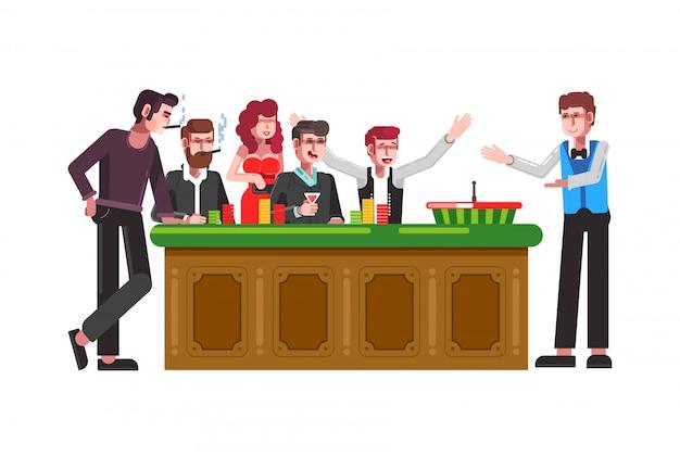 Tabel voor roulettewiel met spelers en croupier