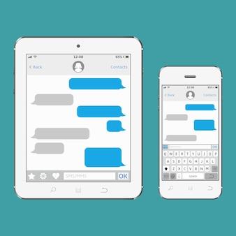 Tablet en mobiele telefoon met chat- en berichtenscherm
