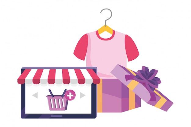 Tablet en winkel pictogram illustratie