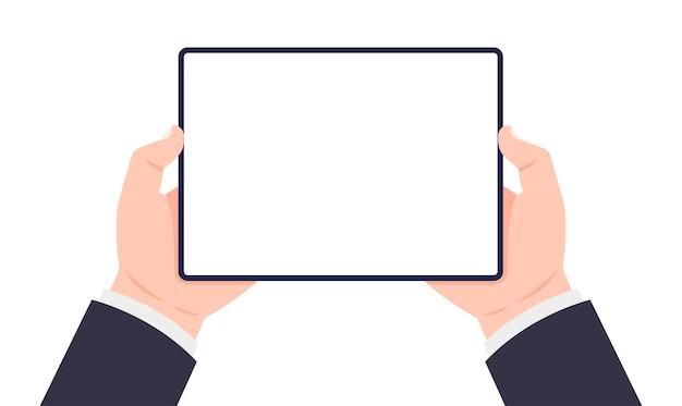 Tablet in handen. twee handen met tablet.