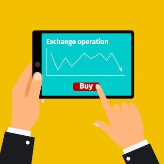 Tablet met grafische beurs