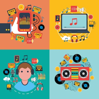 Tablet mobiele muziek apps concept 4 plat pictogrammen samenstelling met cd-cassettespeler