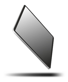 Tablet pc-computer met leeg scherm geïsoleerd op een witte achtergrond.