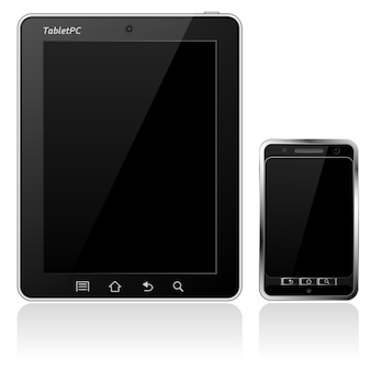 Tablet pc en mobiele telefoon