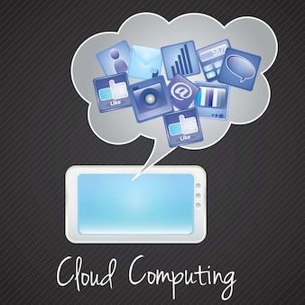 Tablet pccloud computing-netwerkconcept blauwgrijze en lichte kleuren