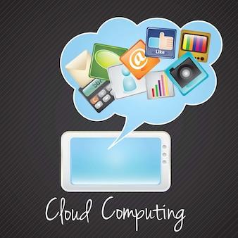Tablet pccloud computing-netwerkconcept vectorillustratie