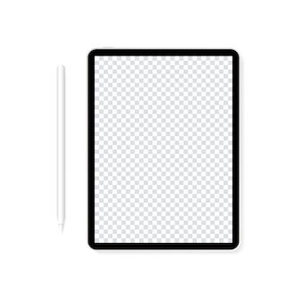 Tablet realistisch met potloodillustratie, leeg scherm