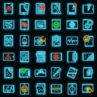 Tablet reparatie pictogrammen instellen. overzicht set van tablet reparatie vector iconen neon kleur op zwart